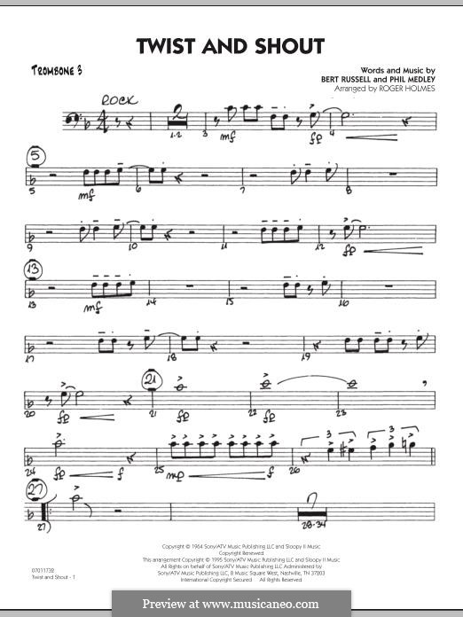Twist and Shout (The Beatles), for Orchestra (arr. Roger Holmes): Trombone 3 part by Bert Russell, Phil Medley