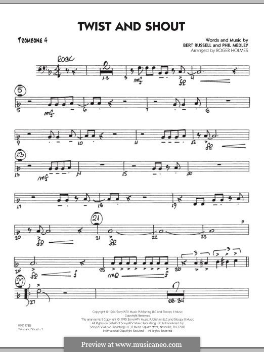 Twist and Shout (The Beatles), for Orchestra (arr. Roger Holmes): Trombone 4 part by Bert Russell, Phil Medley
