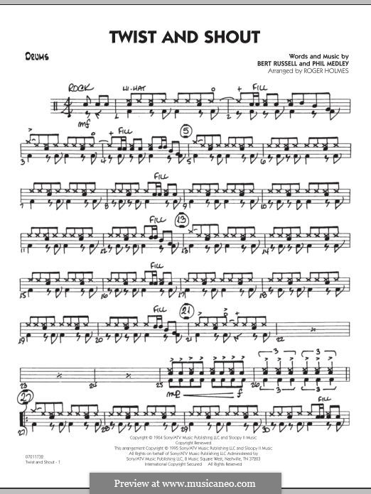 Twist and Shout (The Beatles), for Orchestra (arr. Roger Holmes): Drums part by Bert Russell, Phil Medley