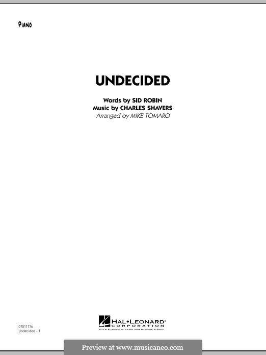 Undecided (Ella Fitzgerald): Piano part by Charles Shavers