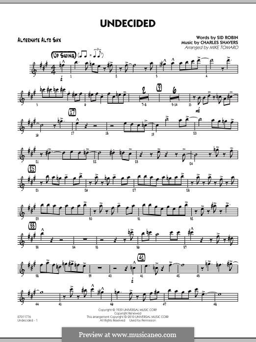 Undecided (Ella Fitzgerald): Alternate Alto Sax part by Charles Shavers