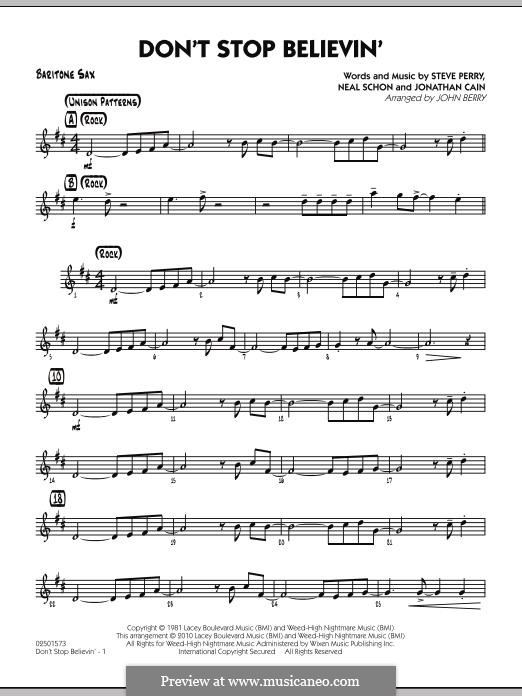 Don't Stop Believin' (arr. John Berry): Baritone Sax part by Jonathan Cain, Neal Schon, Steve Perry