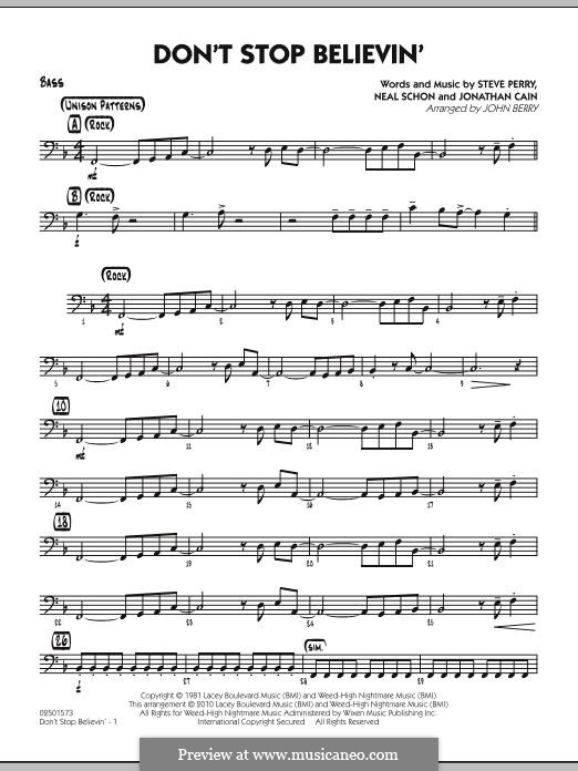Don't Stop Believin' (arr. John Berry): Bass part by Jonathan Cain, Neal Schon, Steve Perry