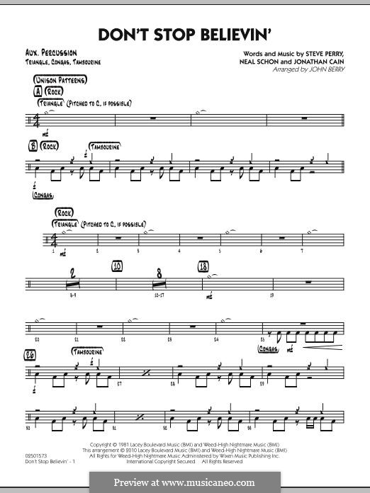 Don't Stop Believin' (arr. John Berry): Aux Percussion part by Jonathan Cain, Neal Schon, Steve Perry
