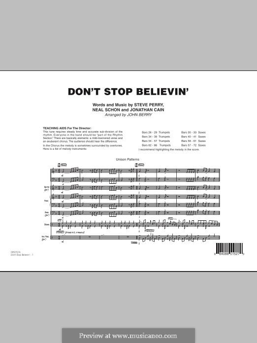 Don't Stop Believin' (arr. John Berry): Full Score by Jonathan Cain, Neal Schon, Steve Perry
