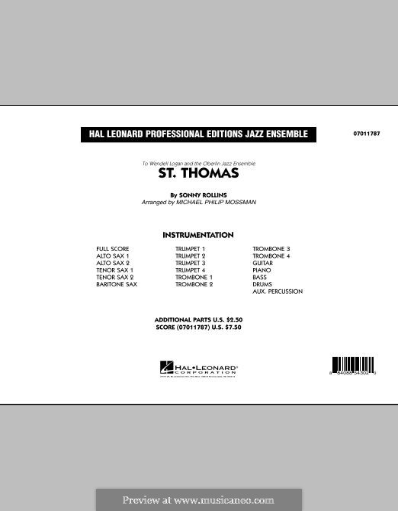 Jazz Ensemble version (arr. Michael Philip Mossman): Full Score by Sonny Rollins