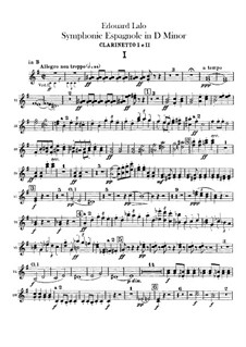 Spanish Symphony in D Minor, Op.21: Clarinets part by Édouard Lalo