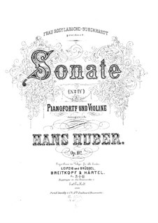Sonata for Violin and Piano No.4 in G Major, Op.102: Score for two performers by Hans Huber