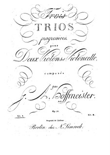 Six Progressive Trios for Two Violins and Cello, Op.28: Violin I part by Franz Anton Hoffmeister