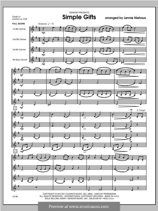 Simple Gifts (Chamber Arrangements): For quartet clarinets – full score by folklore