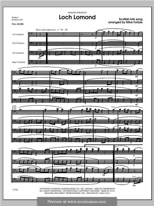 Loch Lomond: For trombones – full score by folklore