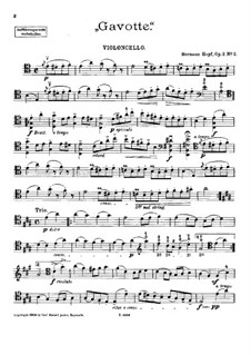Gavotte for Cello and Piano (or Harp), Op.2 No.2: Solo part by Hermann Hopf