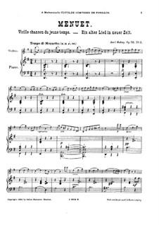 Vielle chanson de jeune temps for Violin and Piano, Op.52: No.2 Minuet – score by Jenö Hubay