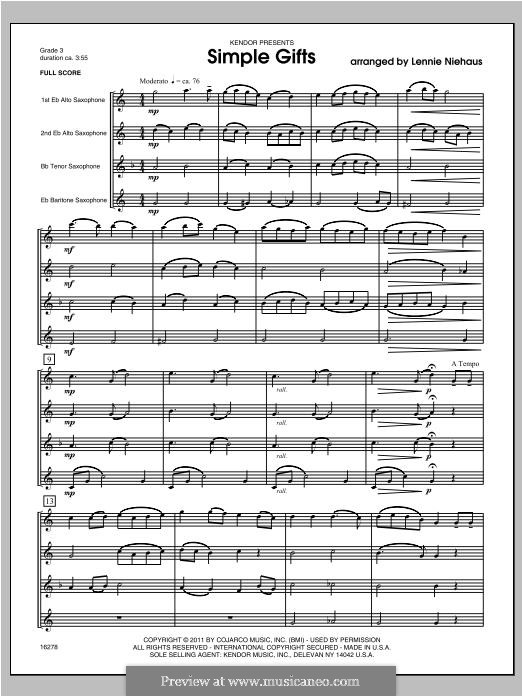 Simple Gifts (Chamber Arrangements): For quartet saxophones – full score by folklore