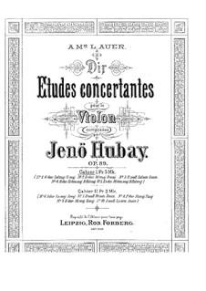 Ten Concert Etudes for Violin, Op.89: Ten Concert Etudes for Violin by Jenö Hubay