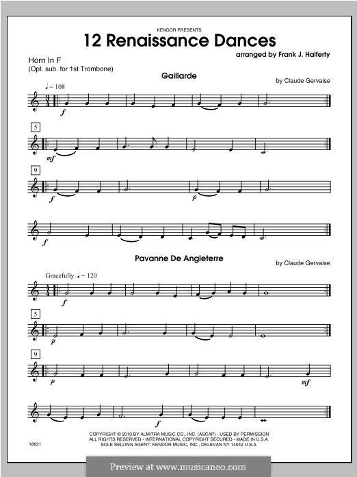 12 Renaissance Dances: Horn part by Claude Gervaise