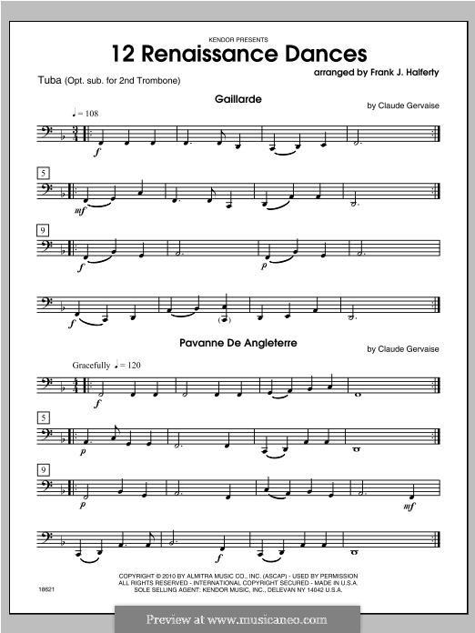12 Renaissance Dances: Tuba part by Claude Gervaise