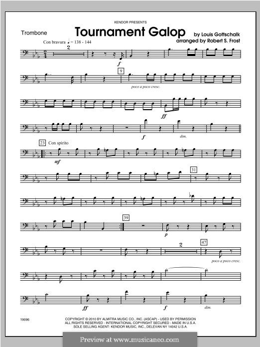 Tournament Galop: For brass band – Trombone part by Louis Moreau Gottschalk