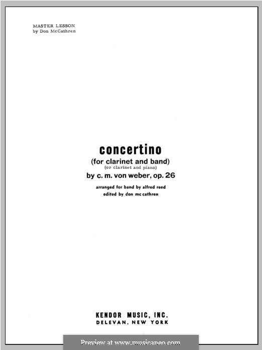 Concertino for Clarinet and Orchestra, J.109 Op.26: Performance Notes by Carl Maria von Weber