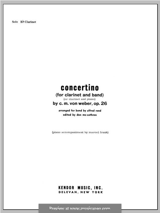 Concertino for Clarinet and Orchestra, J.109 Op.26: Solo Bb Clarinet part by Carl Maria von Weber