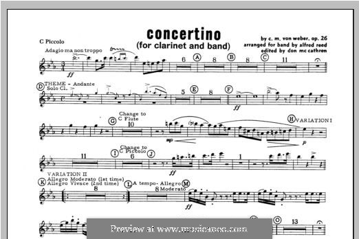 Concertino for Clarinet and Orchestra, J.109 Op.26: Piccolo part by Carl Maria von Weber