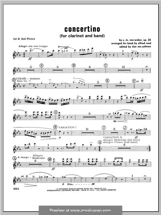 Concertino for Clarinet and Orchestra, J.109 Op.26: Flute part by Carl Maria von Weber