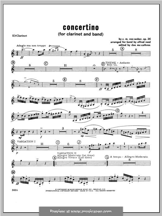 Concertino for Clarinet and Orchestra, J.109 Op.26: Clarinet part by Carl Maria von Weber