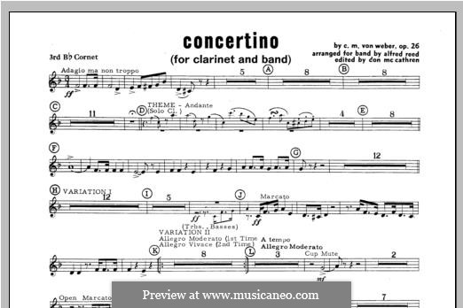 Concertino for Clarinet and Orchestra, J.109 Op.26: Bb Cornet 3 part by Carl Maria von Weber