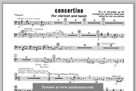 Concertino for Clarinet and Orchestra, J.109 Op.26: Percussion 4 part by Carl Maria von Weber