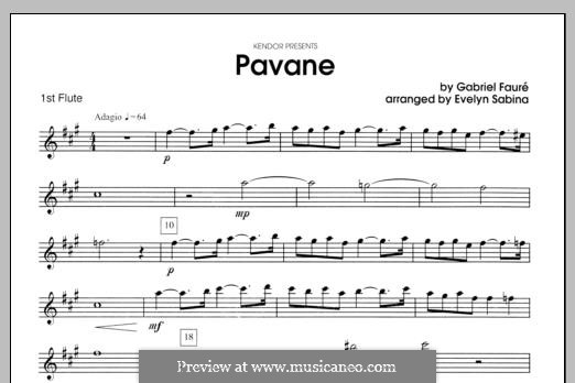 Pavane, Op.50: For two flutes and piano – flute 1 part by Gabriel Fauré