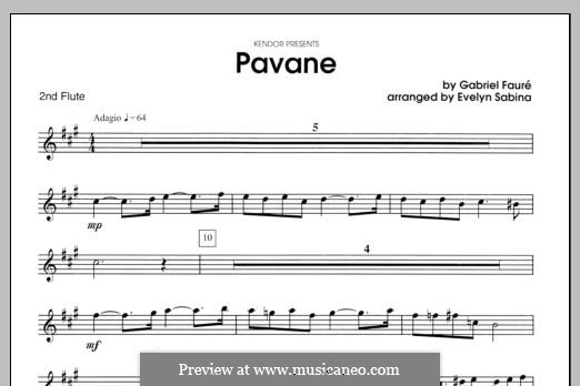Pavane, Op.50: For two flutes and piano – flute 2 part by Gabriel Fauré