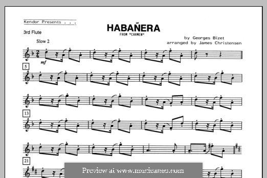 Habanera (Chamber Arrangements): For quartet flutes – Flute 3 part by Georges Bizet