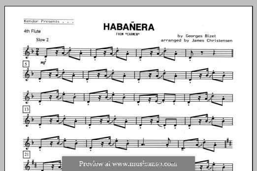 Habanera (Chamber Arrangements): For quartet flutes – Flute 4 part by Georges Bizet