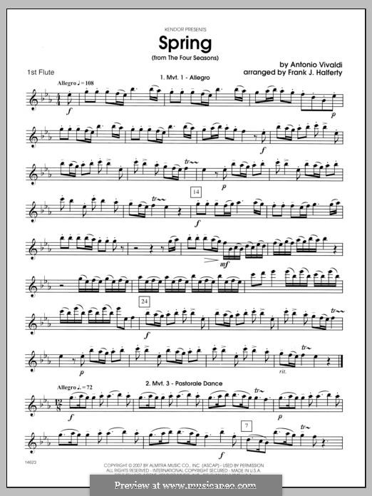 Violin Concerto No.1 in E Major 'La primavera' (Printable Scores): Movement I, for flutes - Flute 1 part by Antonio Vivaldi