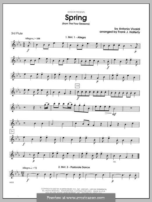 Violin Concerto No.1 in E Major 'La primavera' (Printable Scores): Movement I, for flutes - Flute 3 part by Antonio Vivaldi