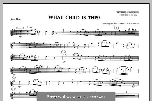 What Child is This (Christmas Carol): For quartet flutes – Flute 2 part by folklore