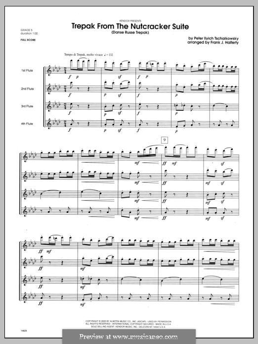 No.4 Russian Dance (Trepak): For flutes - full score by Pyotr Tchaikovsky