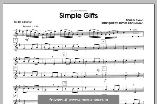 Simple Gifts (Chamber Arrangements): For clarinets – Clarinet 1 part by folklore