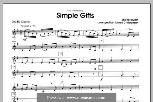 Simple Gifts (Chamber Arrangements): For clarinets – Clarinet 2 part by folklore