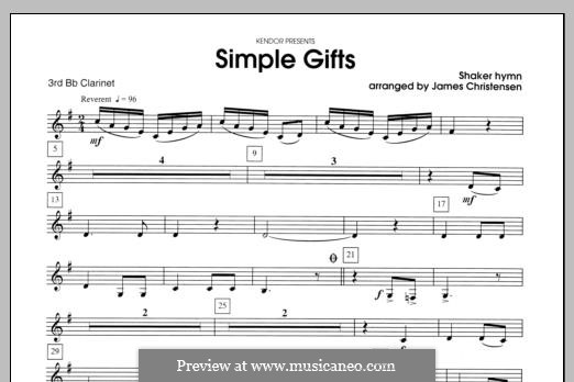Simple Gifts (Chamber Arrangements): For clarinets – Clarinet 3 part by folklore