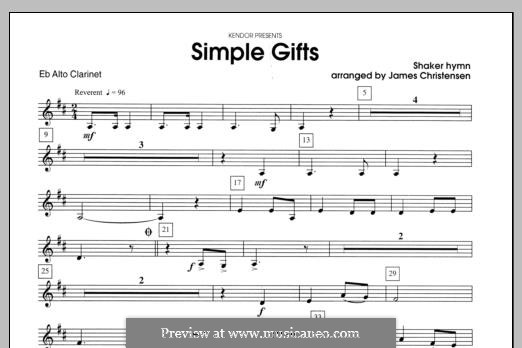 Simple Gifts (Chamber Arrangements): For clarinets – Eb Alto Clarinet part by folklore