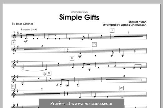 Simple Gifts (Chamber Arrangements): For clarinets – Bass Clarinet part by folklore