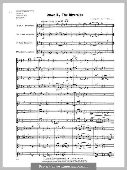 Down By the Riverside: For saxophones – full score by folklore