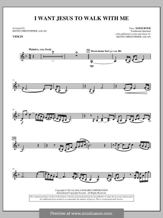 I Want Jesus to Walk with Me: Violin part by folklore