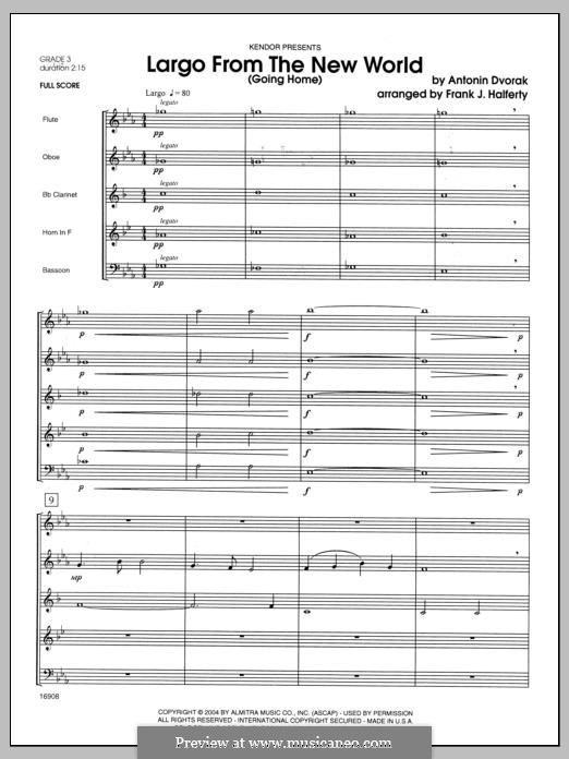 Movement II (Largo) Printable Scores: For winds - full score by Antonín Dvořák