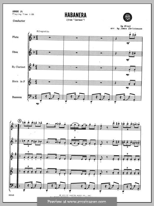 Habanera (Chamber Arrangements): For winds – full score by Georges Bizet
