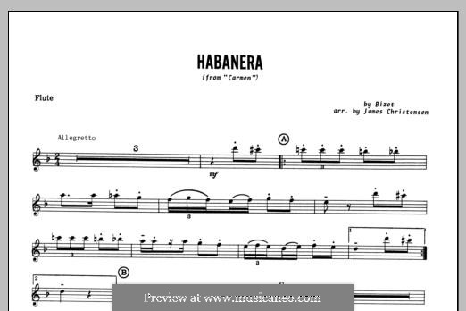 Habanera (Chamber Arrangements): For winds – Flute part by Georges Bizet