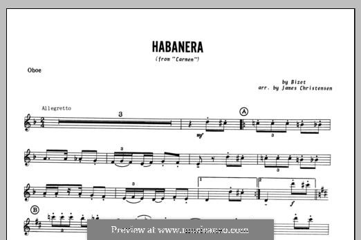 Habanera (Chamber Arrangements): For winds – Oboe part by Georges Bizet
