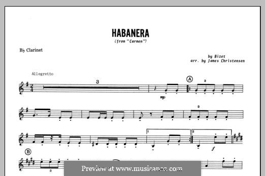 Habanera (Chamber Arrangements): For winds – Bb Clarinet part by Georges Bizet