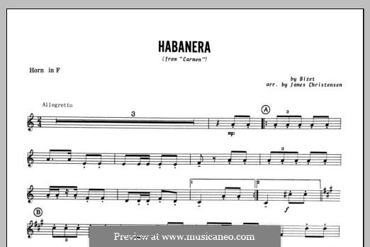 Habanera (Chamber Arrangements): For winds – Horn in F part by Georges Bizet